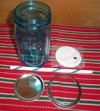 BALL 1 QT.WIDE MOUTH BLUE GLASS MASON JAR  WITH SIP & STRAW  + LID & BAND ~ LQQK