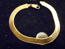 bling 14k yellow gold plated 7.5 mm 7.5 inch hip hop herringbone chain bracelet