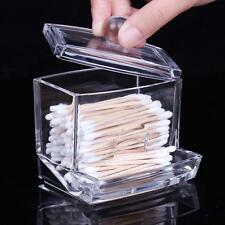 Clear Acrylic Q-tip Makeup Storage Cotton Swab Organizer Box Cosmetic Holder DD