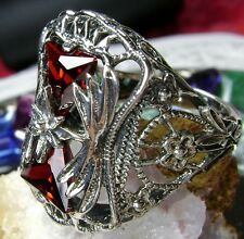 Trillion Cut *Red Garnet* Solid Sterling Silver Victorian Filigree Ring Size 9