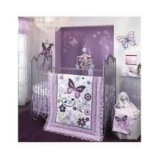 Butterfly Crib Bedding Set Floral Quilt Nursery Purple Ruffled Baby Girl 5 Pc
