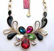 Betsey Johnson Brilliant colour crystal glass Abstract flowers Necklace#323L