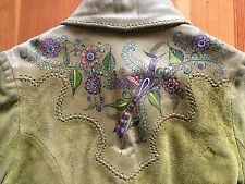 Vintage Char Hand painted Birds Of Paradise Leather Jacket Whip Stitched Green M