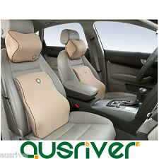 Car Auto Seat Memory Foam Neck Head Pillow+Lumbar Back Support Cushion 160-172cm