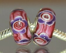 Blume Lila Rose Purple 925 Sterling Silber European Murano Glas Bead Beads