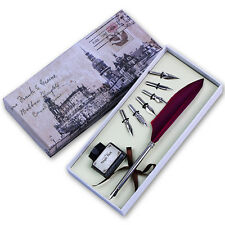Vintage Wine Red Quill Dip Pen Goose Feather Pen with Black Ink + 6 Nibs Gift