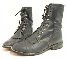 RARE Vintage 70s Hippie Boho Boots ACME Gray Granny Lace Up Ankle Women 6 USA