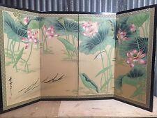 Vintage Japanese Chinese 4 Panel Folding Screen Byobu Painted 60x35 SILK!
