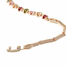 Charms 14K Gold Filled Multicolor Rhinestone Charm Womens Chain Bracelet 6.69 ''