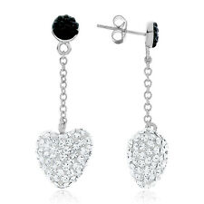 Heart Earrings Made with Black & White Swarovski Crystals in Sterling Silve