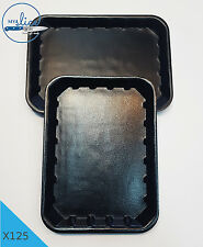 "125 x BLACK FOAM MEAT/FOOD TRAY 7"" X 5"" - Butcher, Home Kill, Resteraunt, Cafe."