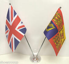 United Kingdom & The Royal Standard Flags Chrome and Satin Table Desk Flag Set