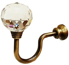 2x Large Round 32mm Crystal Clear Ball Curtain Tie Backs Hold Backs Wall Hook