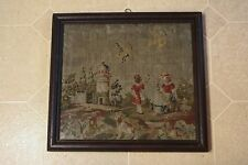 Antique 19th C Textile Framed Spaniel Dog Birds Olive Branches Children Chateau