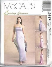 McCalls Sewing Pattern # 2617 Misses Gown with Train and Bag Size 4-6-8
