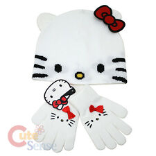 Sanrio Hello kitty Beanie Hat Gloves Set by Loungefly Face Red Bow and Ear