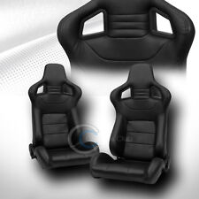 2X UNIVERSAL MU BLK STITCH PVC LEATHER RECLINABLE RACING BUCKET SEATS+SLIDER C09