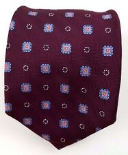 BROOKS Brothers MAROON Tie MAKERS Silk NECK Necktie USA Mens GEOMETRIC England**