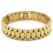 "Mens 14k Gold Plated 15mm Stainless Steel Hip Hop Wrist Bracelet 9"" Inches 303G"
