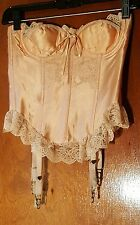 Vintage Merry Widow Satin & Lace Bustier Corset Strapless 4 Metal Garters sz 34