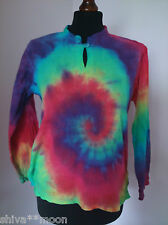 TIE DYE EMBROIDERED HIPPY BOHO KURTA BLOUSE TOP INDIAN TIEDYE k406g