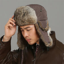 Unisex Warm Winter Cap Russian Trapper Hat Ear Flaps Brown Rabbit Fur One Size