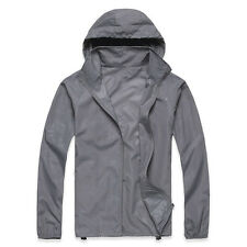 Men Women Oversize Waterproof Windproof Jacket Lightweight Rain Zip Coat Outdoor