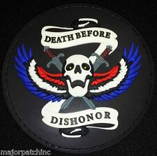 DEATH BEFORE DISHONOR 3D PVC BLACK OPS GLOW ARMY US VELCRO® BRAND FASTENER PATCH