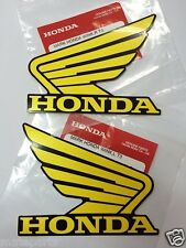HONDA GENUINE WING - Yellow Black 2X 100mm STICKER DECAL PLATE EMBLEM REPSOL HEL
