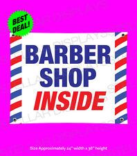 BARBER SHOP INSIDE Banner 3'x2' Beauty Salon Professional Open Sign Pole Outdoor