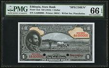 1945 Ethiopia Specimen State Bank $1 Dollars PMG UNC-66 EPQ Pick# 12s2 Ethiopian