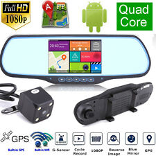 "GPS Navi WIFI 1080P Android 5"" Car DVR Rearview Mirror Dual Lens Dash Camera"