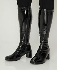 Black Boots - Mens Retro Cool GoGo Knee High Boots - Size 11 UK - Black Patent