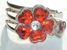 RED HEART PETAL FLOWER PLASTIC HAIR BARRETTE CLIP CLAW COMB