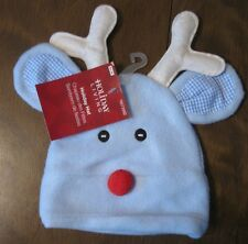 Santa Hat in baby blue very soft with reindeer face & antlers