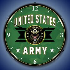 NEW UNITED STATES ARMY  BACKLIT LIGHTED RETRO CLOCK - WE PAY THE SHIPPING*