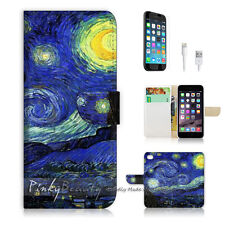 "iPhone 6 (4.7"") Print Flip Wallet Case Cover! Van Gogh Starry Night P0066"