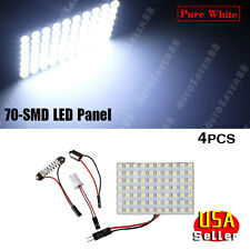 4X Xenon white 1206 70-SMD LED Dome Cargo Trunk Light Panel + T10 BA9S Festoon