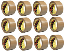 12 x Genuine 3M Scotch Brown Buff Parcel Packaging Tape 48mm x 66m