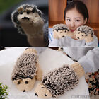 Women Girls Winter Warm Cute Gloves Mittens Fleece Cartoon Hedgehog Fur Gloves