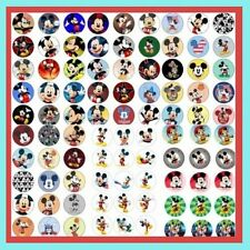 100 Pre-Cut assorted Disney MICKEY MOUSE BOTTLE CAP IMAGES Variety 1 inch discs