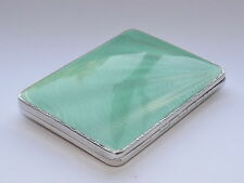 Art deco solid sterling silver & green guilloche enamel cigarette case bham 1932