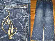 NEW! BABY PHAT Distressed Look Splatter Design Flare Jeans PLUS SIZE 20