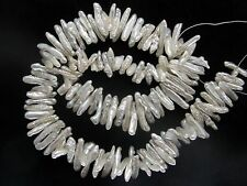 High Quality White Keishi Freshwater Pearl Stick Beads - 16 Inch Strand
