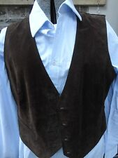 Womens Brown Soft Leather Suede Western Waistcoat Vest Top Size UK 16