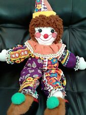 Vintage Clown Rag Doll  28""