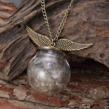 Harry Potter Snitch Dandelion Seeds Glass Wing Pendant Necklace Charm Chain Gift