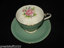 Aynsley Bone China Teacup & Saucer Mint Green w/ Red Rose Spray in Cup England