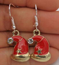 925 Silver Plated Hook- 1.6'' Christmas Hat Star Crystal Party Chic Earrings #04