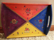 Art Serving wooden Tray red blue yellow and purple spring summer theme fre ship